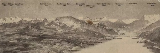 朱岚清 Zhu Lanqing, 日内瓦湖旁的阿尔卑斯山全景图 Postcard 1 Panorama du Lac Leman et des Alpes