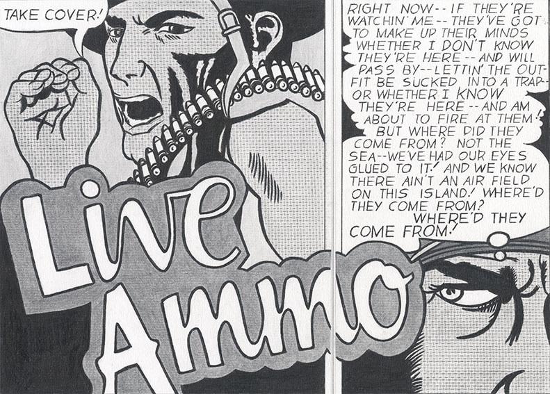 """Detail of NOT LICHTENSTEIN (Live Ammo/ Take Cover, 1962) 68 x 56"""""""