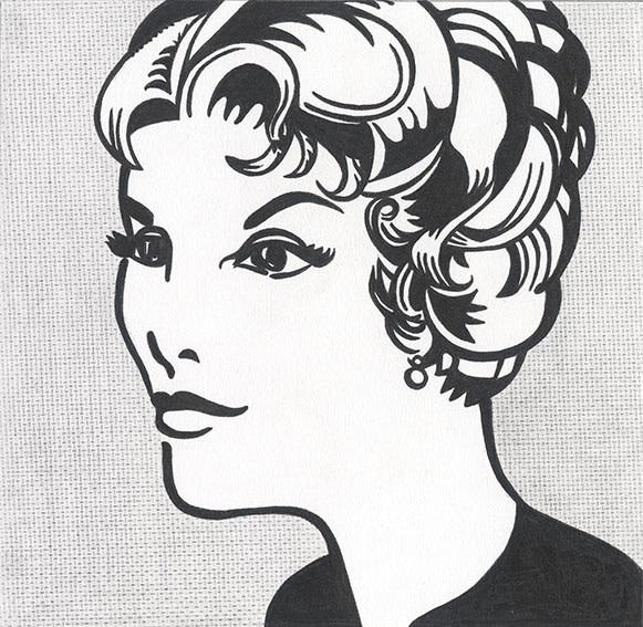 """Detail of NOT LICHTENSTEIN (Head: Yellow and Black, 1962) 48 x 48"""""""