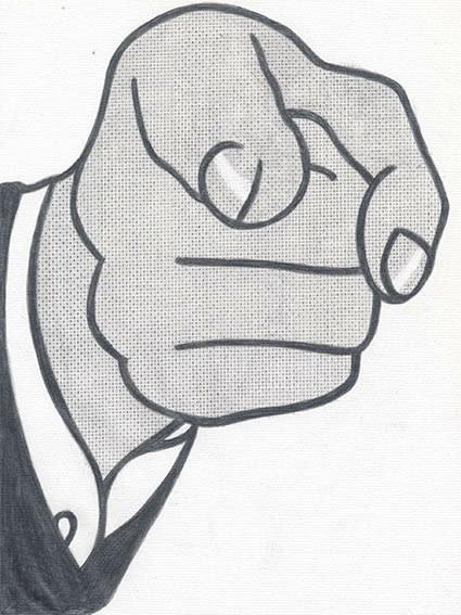 """Detail of NOT LICHTENSTEIN (Finger Pointing, 1961) 30 x 22 1/2"""""""
