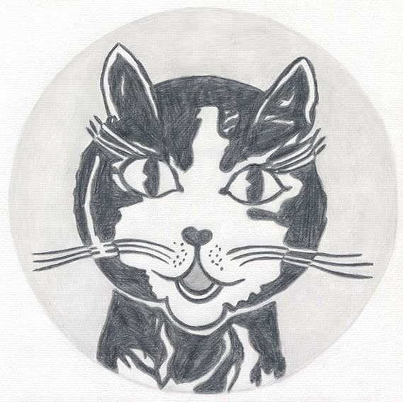 """Detail of NOT LICHTENSTEIN (Laughing Cat, 1961) 31 1/2 x 31 1/2"""""""