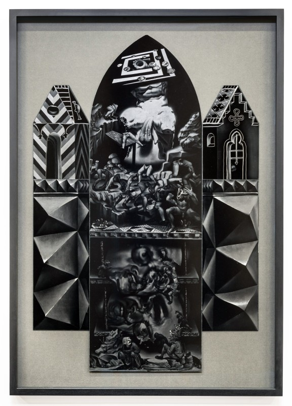 Robert McNally  Peristalsis of weak and feeble, 2016  Graphite on ultra-black carbon nanotube coated aluminium  102 x 72 cm  40 1/8 x 28 3/8 in  (Framed)  Courtesy of David Risley gallery Copenhagen