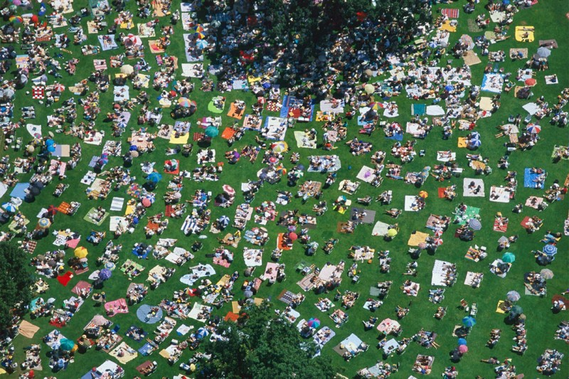 Alex Maclean, PICKNICKERS WATCHING A LIVE CONCERT AT TANGLEWOOD, LENOX, MASSACHUSETTS, USA, 1996