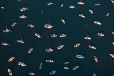 Alex Maclean, DIRECTIONLESS LOBSTER BOATS, TREMONT, MAINE, USA, 2008