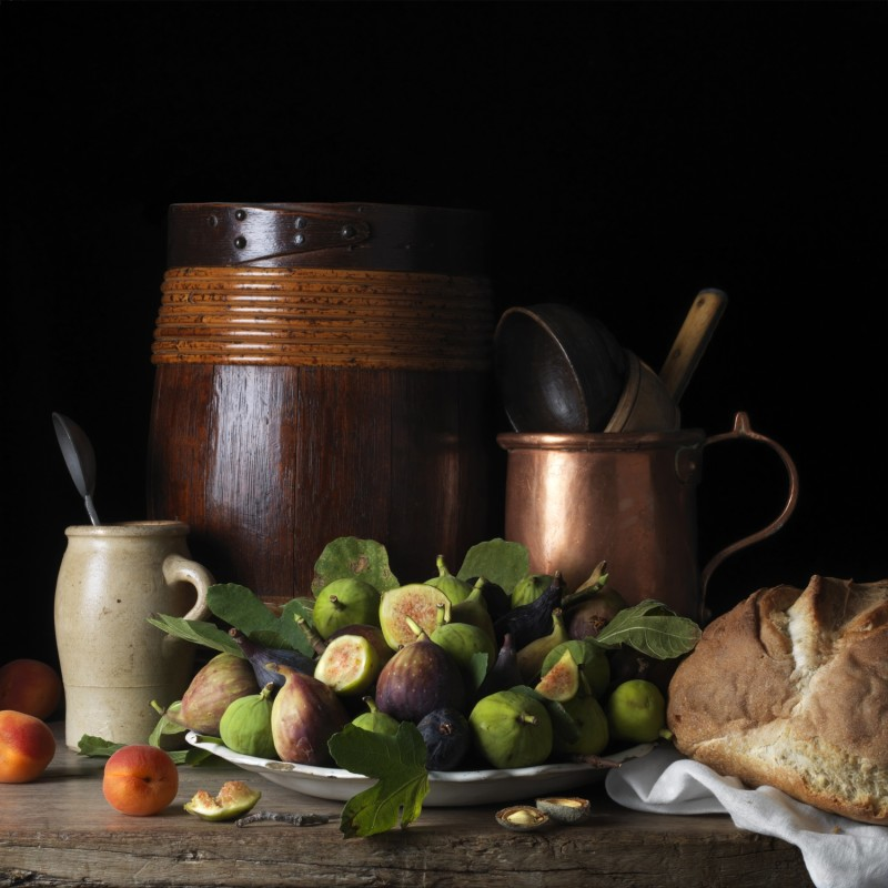 Paulette Tavormina, STILL LIFE WITH FIGS AND APRICOTS, AFTER LM, 2014
