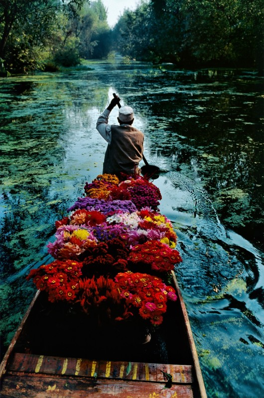 Steve McCurry, FLOWER SELLER, DAL LAKE, SRINAGAR, KASHMIR, 1996
