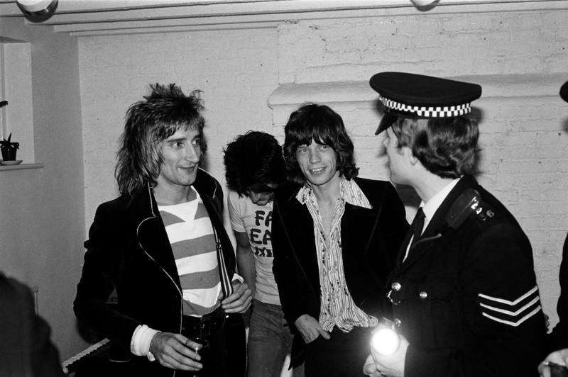Mick Rock, ROD STEWART, RONNIE WOOD AND MICK JAGGER, LONDON, 1975