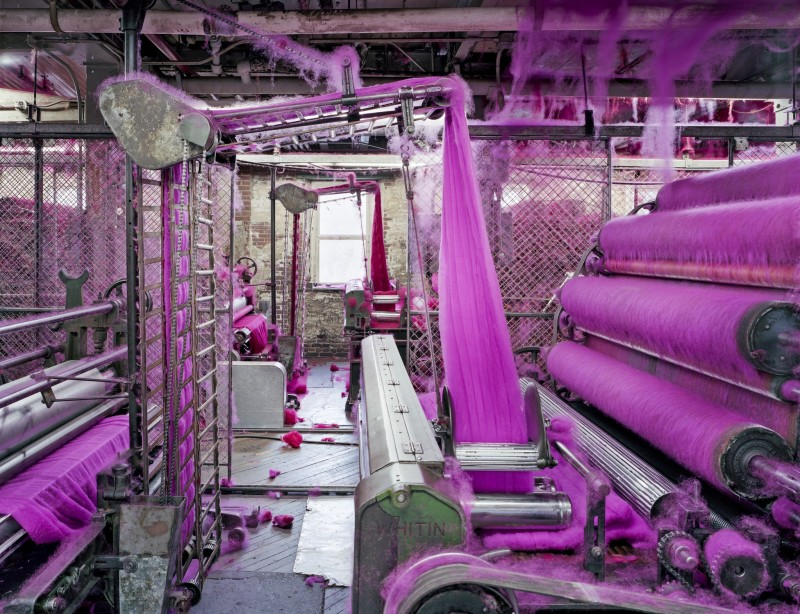 Christopher Payne, Carders With Red and Pink Wool, S&D Spinning Mill, Millbury, MA, From The Textile Series, 2012