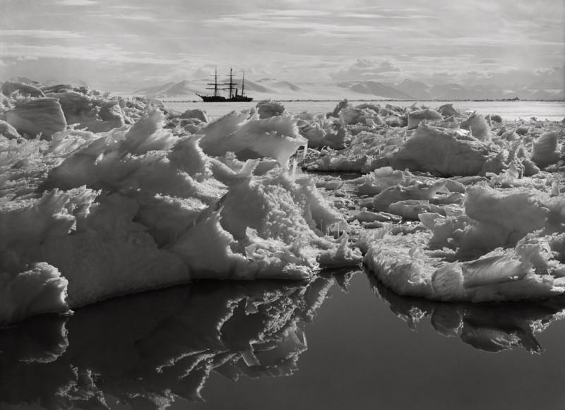 Herbert Ponting, BEAUTIFUL BROKEN ICE, REFLECTIONS AND THE TERRA NOVA, 7 JANUARY 1911