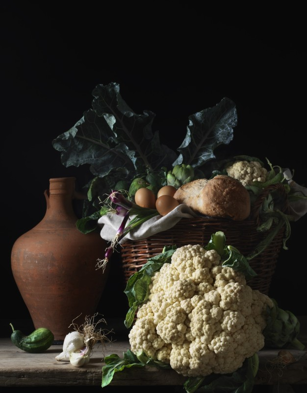 Paulette Tavormina, STILL LIFE WITH CAULIFLOWER AND BREAD, AFTER LM, 2014