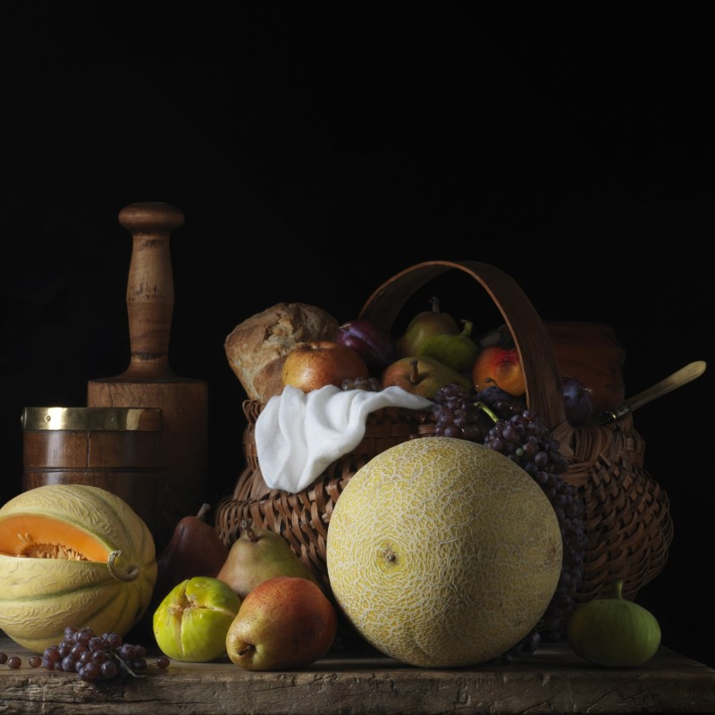 Paulette Tavormina, STILL LIFE WITH MELONS AND BASKET, AFTER LM, 2014
