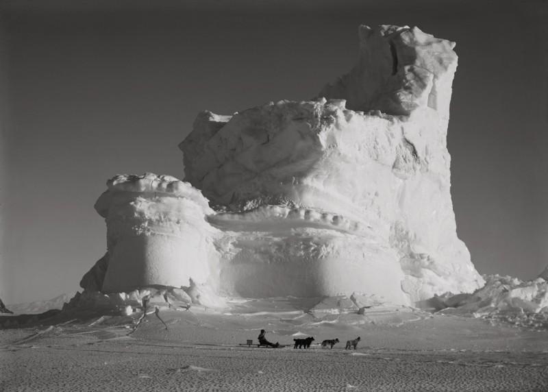 Herbert Ponting, THE CASTLE BERG WITH DOG SLEDGE, SEPTEMBER 17 1911