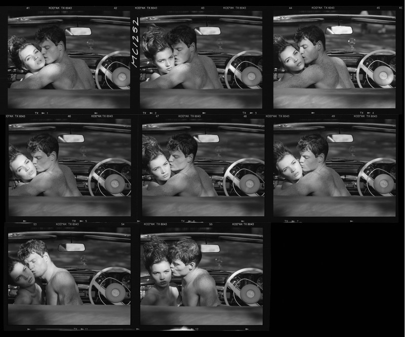 TONY MCGEE, KATE MOSS PHOTOGRAPHED IN DAVID HOCKNEY'S MERCEDES BENZ 280 CABRIOLET, LONDON (CONTACT SHEET), 1988
