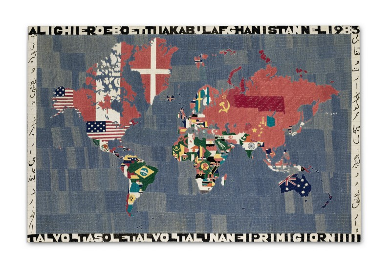 ALIGHIERO BOETTI: EMBRODERIES INCLUDING MAPPAS, TUTTOS AND A RUG