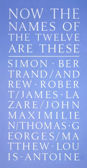 <p>Now the Names of Twelve, 2007<br /> <em>Stencil on wall</em></p>