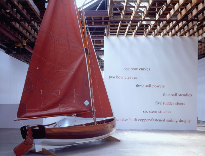 <p>The Dinghy, 1996 (Installation View)<br /> <em>Clinker-built boat and poem, Overall length 420 cm</em><br /><br /></p>