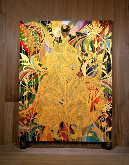 """<div id=""""slideshowCaption""""><span>Mono Oro, 1999 - 2002</span><br /> <em>Oil paint, acrylic paint, ink, gold leaf, polyester resin, glitter, map pins and elephant dung on linen with two elephant dung supports, 8ft x 6ft</em></div>"""
