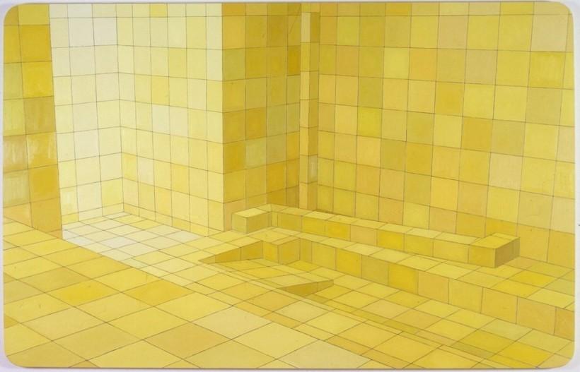 "<div id=""slideshowCaption""><span>O Obsceno (The Obscene), 2004</span><br /> <em>oil on canvas, 180 x 280cm</em></div>"