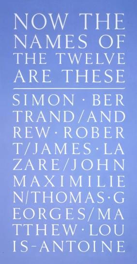 <p>Now the Names of Twelve, 2007<br /> <em>Stencil on wall</em></p>