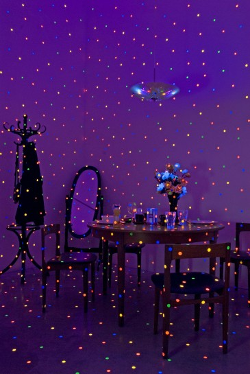 <p>I'm Here, But Nothing, 2000 -<br /><em>Dot sheet, ultra violet fluorescent lights, furniture, household objects, Dimensions variable</em></p>