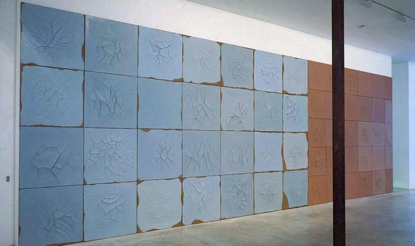 "<div id=""slideshowCaption""><span>Macau Wall, 2002 (Installation View)</span><br /><em>Plaster on canvas, oil paint</em><br /><br /></div>"