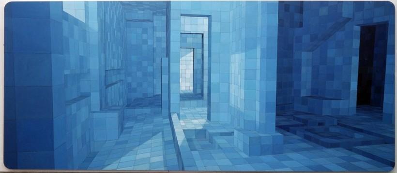 "<div id=""slideshowCaption""><span>O Sedutor (The Seducer), 2004</span><br /> <em>Oil on canvas, 230 x 530 cm 90 1/2 x 208 5/8 in</em></div>"