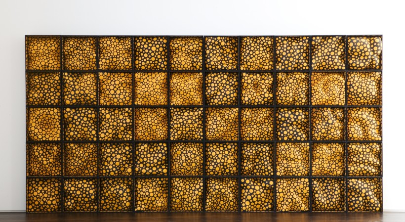 <p>The Earth in Late Summer, 2004<br /> <em>Styrol, wood, cloth, paint; set of 50 boxes, 225 x 450 x 18 cm88 5/8 x 177 1/8 x 7 in</em></p>