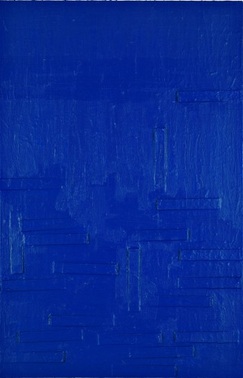 <p>Blue Monster, 2008<br /> <em>Mixed media on canvas, 121.9 x 78.7 x 3.8 cm 48 x 31 x 1.5 <br />in</em></p>