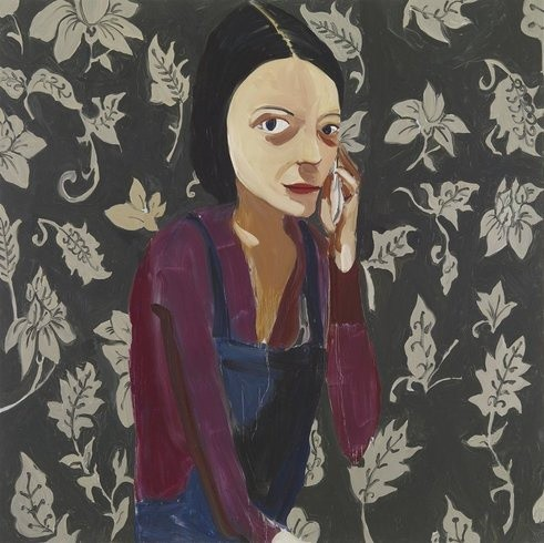 <p>Dungarees with Walpaper, 2008<br /><em>Oil on board, 186 x 186 cm 73.28 x 73.28 in</em></p>