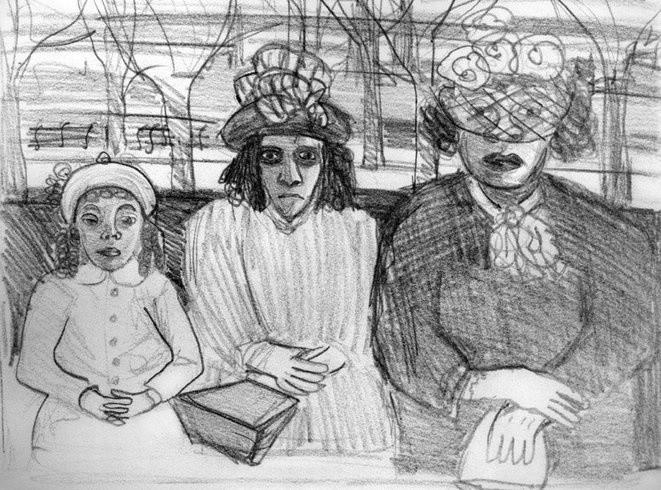 <p>Three Women on a Bus, c. 1940<br /><em>Pencil on paper, 19.1 x 24.4 cm 7.53 x 9.61 in</em></p>
