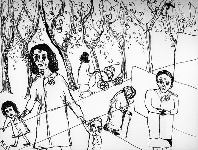 <p>In the Park, 1956<br /><em>Ink on paper, 21.6 x 27.9 cm 8 1/2 x 11 in</em></p>