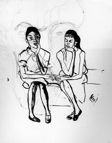<p>Two Puerto Rican Girls, 1956<br /><em>Ink on paper, 42.5 x 35.6 cm 16.75 x 14.03 inc</em></p>