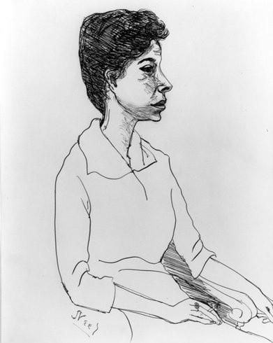 <p>Cora Kaye, 1958<br /><em>Ink on paper, 35.6 x 27.9 cm 14.03 x 10.99 in</em></p>