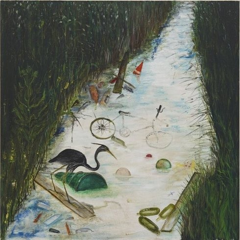 <p>Green and Pleasant Land (An English Country Stream), 2008<br /><em>Oil on wood, 55 x 55 cms 21.67 x 21.67 inches</em></p>