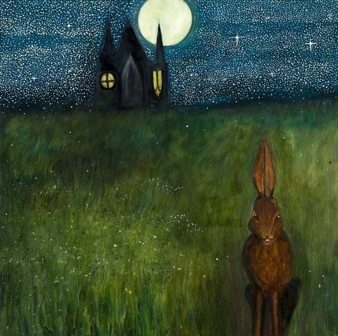 <p>Night Hare Child, 2009<br /><em>Oil on wood, 56 x 56 cms 22.06 x 22.06 inches</em></p>