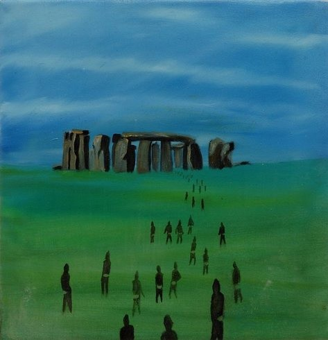 <p>Green and Pleasant Land (Stonehenge the Ascent), 2006<br /><em>Oil on canvas, 37 x 37 cms 14.58 x 14.58 inches</em></p>