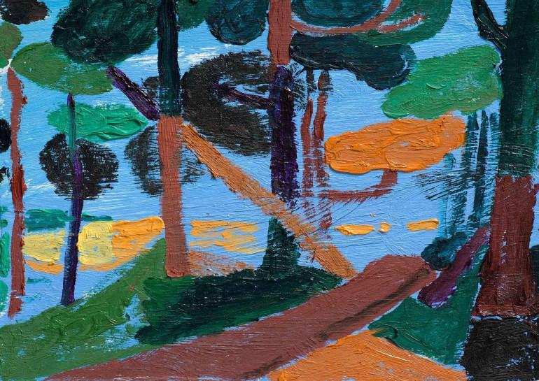 <p>Walk towards Hare Hill, 2013, (detail)<br /><em>Oil on cardboard, 25 x 18 cm, 9 7/8 x 7 1/8 in</em></p>