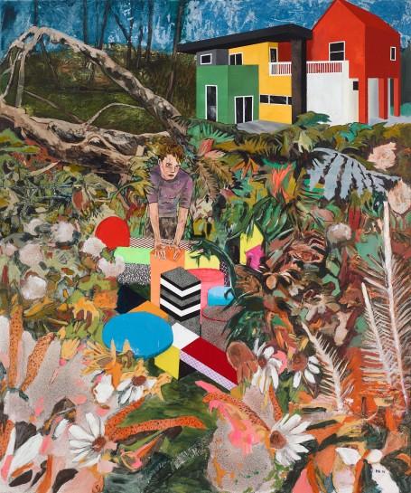 <p>Memphis Living (he felt the garden needed the same treatment), 2014<br /><em>acrylic, household gloss, silkscreen and spray paint on linen, 182.9 x 152.4 cm, 72 x 60 in</em></p>