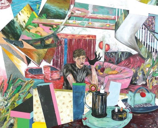 <p>Memphis Living (tea glove after General Idea), 2014<br /><em>acrylic on linen, 60 x 72 in 152.4 x 182.9 cm</em></p>