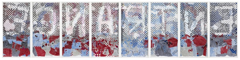 <p>ENTRANCE, 2014<br /><em>hand-cut paper collage on MDF wood, 203 x 104 x 6.5 cm 79 7/8 x 41 x 2 1/2 in</em></p>