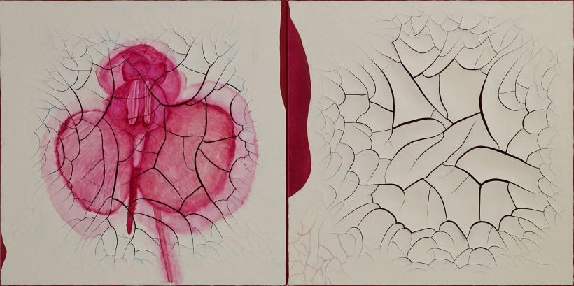 "<p>Díptico Carnívoras Branco, 2012</p><p><em>oil and plaster on canvas,<span style=""line-height: 1.5em;"">two panels each</span><span style=""line-height: 1.5em;"">99 x 99 cm, 39 x 39 in</span></em></p>"