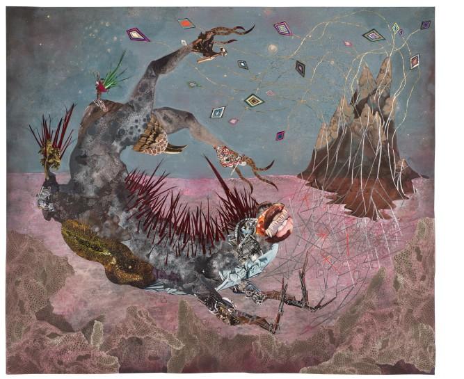 <p><em>The screamer island dreamer</em>, 2014<br />Collage painting on vinyl<br />184.8 x 154.9 cm, 72 3/4 x 61 in</p>