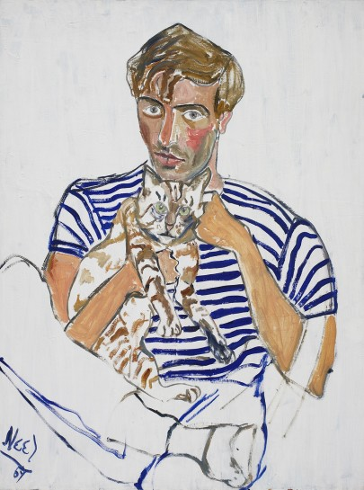 <p><em>Hartley with a Cat</em>, 1969<br />Oil on canvas<br />101.9 x 76.5 cm, 40 1/8 x 30 1/8 in</p>