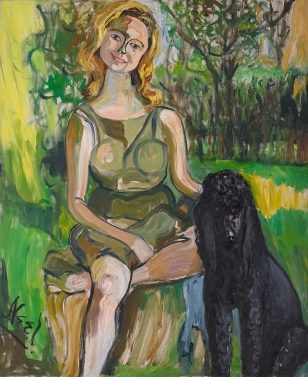 <p><i>Carol with a Dog</i>, 1962<br />Oil on canvas<br />116.81 x 96.8 cm, 46 x 38 1/8 in</p>