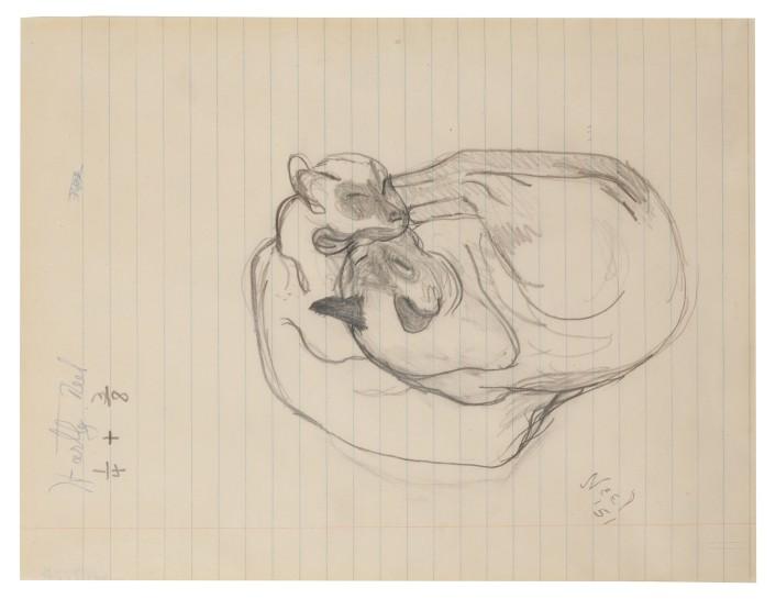 <p><em>Siamese Cats</em>, 1950<br />Ink on paper<br />24.8 x 34.9 cm, 9 3/4 x 13 3/4 in</p>