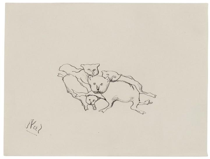 <p><em>Sick Cats</em>, 1942<br />Ink on paper<br />22.7 x 30 cm, 8 x 11 7/8 in</p>