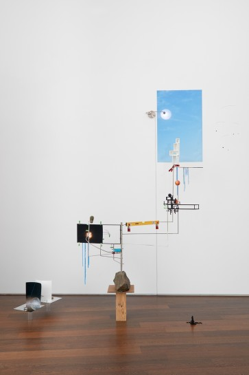 <p>Sarah Sze, <i>Model for a Weather Vane</i><span>, 2012</span><br /><span>Mixed media, stainless steel, wood, stone, acrylic paint, archival prints, lamps, clamps</span><br /><span>345.4 x 381 x 142.2 cm</span><br /><span>136 x 150 x 56 in<br />Installation View, <em>Forces in Nature<br /></em>13 October – 14 November 2015<br />Victoria Miro, 16 Wharf Road, N1 7RW</span></p>
