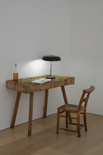 <p><i>The Bottle and the Book</i><span>, 2015</span><br /><span>wooden desk and chair, lamp, handbound book, whiskey and glass</span><br /><span>127 x 123 x 123 cm</span><br /><span>50 x 48 3/8 x 48 3/8 in</span></p>