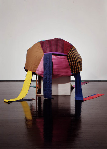 <p>Tal R, Alexia, 2003<br /><i>Fabric, wood, paint, 155 x 170 x 170 cm</i></p>