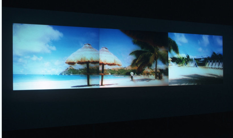 <p>Paradise Omeros, 2002(Installation ViewSeptember 2003)<br /><i>Triple DVD projection, 16 mm film transferred to DVD, Duration 20 min 29 sec</i></p>